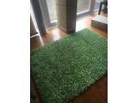 Green long pile rug