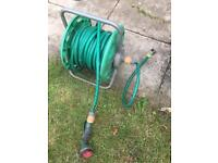 Long Garden Hose with Reel and Spray Nossle