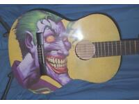 JOKER COMIC ART GUITAR - COOL, AMAZING, SCARY GUITAR FULL SIZE CLASSICAL GUITAR
