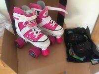 SFR Miami Pink Adjustable Quad Roller Skates (12-2) & SFR Triple Pad Set Jnr
