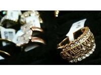 Stunning Gold Plated Crystal Encrusted Rings