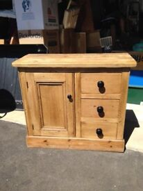 Reclaimed wood cupboard with three drawers