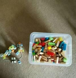 Box of lego bricks and blocks