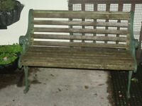 Garden Bench with cast iron ends 65 ovno south brent nr plymouth xxxxx