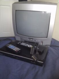 TV & DVD player with remotes, scart cable