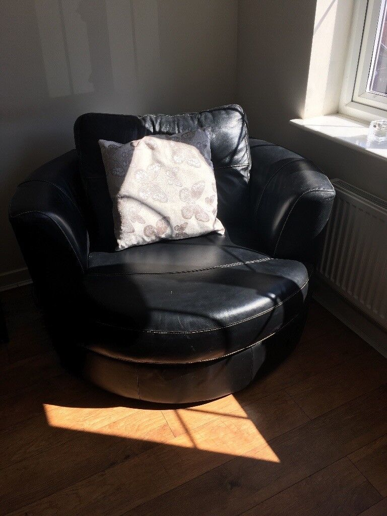 Dfs Black Leather Sofa And Snuggle Chair In Middleton West  ~ Black Leather Sofa Chair
