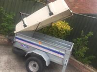 Larger franc tipping trailer + hardtop/spare wheel/roof bars