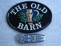 Large Heavy Ceramic House Name Plaque (THE OLD BARN) with raised OWL pattern
