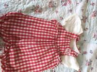 Girls red gingham dungarees and t-shirt set (6-9mnths)