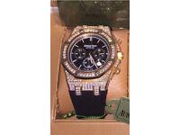 Fully iced out rose gold audemars Piguet diamond watch Ap not rolex hublot Cartier