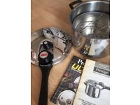 Prestige pressure cooker 6litre new with full instructions solid stainless steel