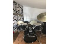 Full drum kit for sale, with seat, book holder, drum sticks and sound pads