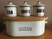 Vintage bread bin and three containers