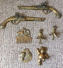 Vintage Brass Bulk Gun Comb Frog Teddy Bear Charles & Diana Wall Hang Collection