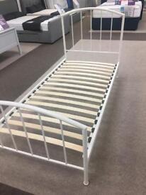 White 3'0 single metal bed frame