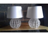 Pair of crystal effect table/bedside lamps