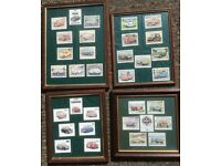 4 x FRAMED MINI COLLECTIBLE CARD SETS ALL UNDER GLASS 12 x 15in ALL VERY CLEAN