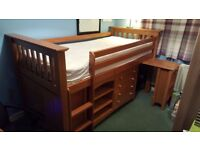 Designer Solid wood Cabin Bed with pull out desk; drawers and cupboard