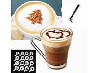 Brand New 16 Pcs (A Pack) Cappuccino Chocolate Stencil Template Coffee Latte Duster Strew + Stylus