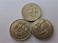 RARE THREE FLORAL EMBLEMS: -Wales -North of Ireland -Scotland - One Pound Coin - Print Abnormalities