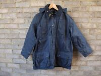 BARBOUR BEAUFORD WAX JACKET SIZE 40in/102cm in A155 NAVY with HOOD.