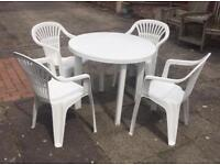 Garden furniture White plastic table and 4 chairs