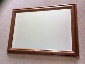 Antique pine coloured mirror