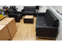 3 office sofas (3 seater, 2 seater, 1 seater) + coffee table - £120 for all