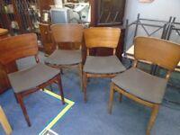 4 vintage dark wood chairs. possibly g plan.