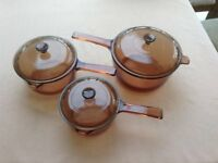Set of 3 Corning Vision glass saucepans