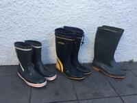 Gill and Wetline Sailing boots and green wellies size 8