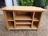 Solid Oak Corner TV Unit. Open adjustable shelves. 98cm (w), 50cm (d) and 65cm (h).