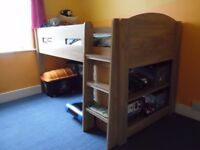 Mid Sleeper Cabin Kids Bed Full Oak Effect with a mattress