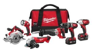 Pristine Milwaukee 6-Tool Combo Kit with Two Batteries & Charger
