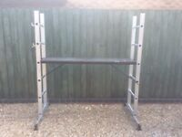 Combined work platform and ladder