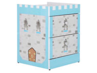 New Children's Chest Of Two Drawers - Blue Castle / Knight Theme