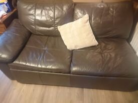 FREE. Brown 2 seater sofabed. leather