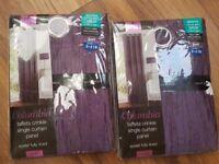 Purple taffeta fully lined curtains NEW