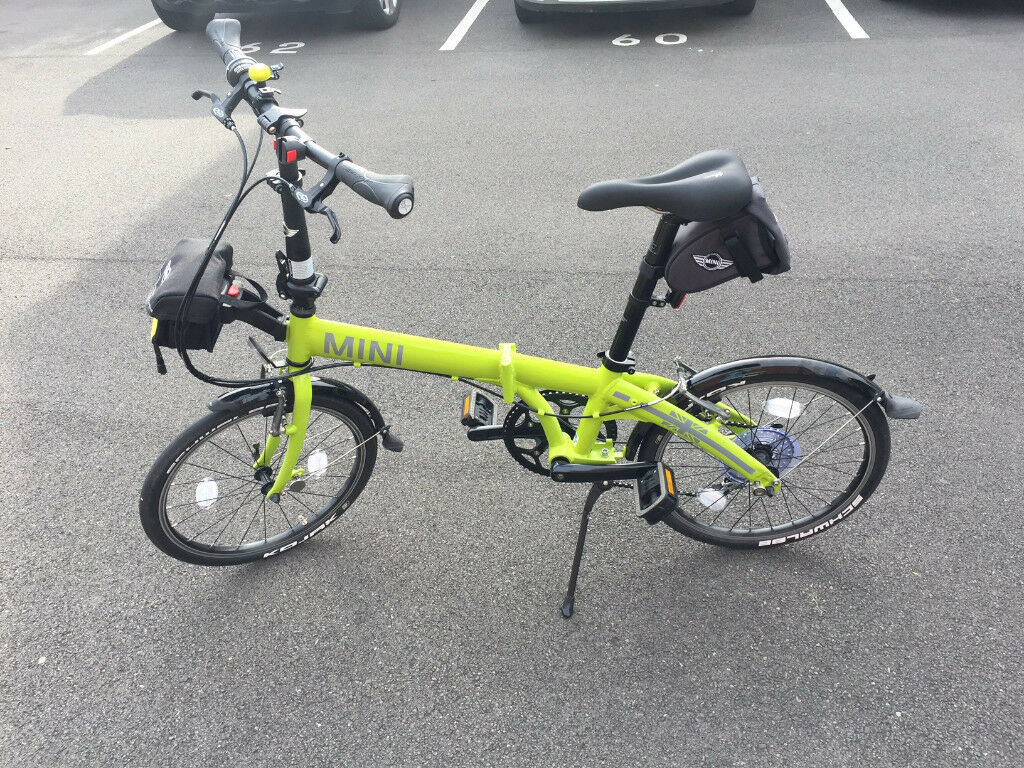 genuine bmw mini lime green edition folding bicycle bike. Black Bedroom Furniture Sets. Home Design Ideas