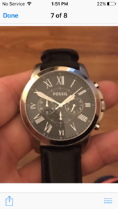 Men's fossil watch - ball leather band