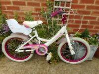 girls white and pink 18 inch wheel fairy bike