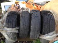 Tyres on wheels