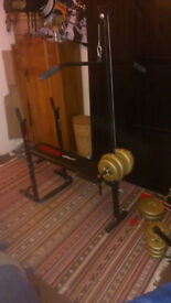 Weights Bench with attachable lat bar, weights and bars