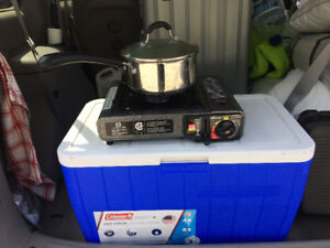 URGENT - Cooler, tent, portable stove for camping