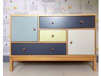 Designer Retro Look 5 Drawer Sideboard