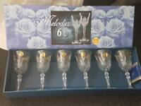 Crystal glasses set of 6 brand new in box