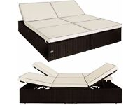 *FREE UK DELIVERY** Poly Rattan Outdoor Daybed Garden Sun Lounger Day Bed
