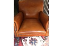 Beautiful Brown Leather Vintage Style Armchair
