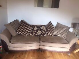 4 seat pillow back fabric sofa with large swivel chair
