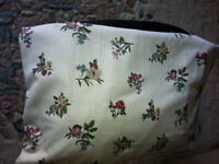 """Floral curtains – lined and as new. 54"""" long x 108"""" wide approx."""